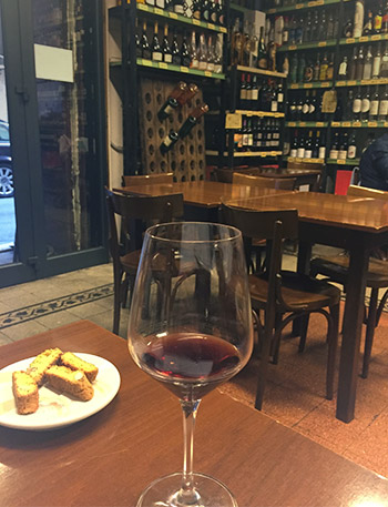 Image showing a taste of Italy with a wine glass and some bread